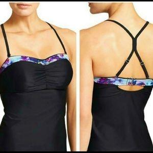 NWT Athleta Black Floral Fade Tankini Swim Top.